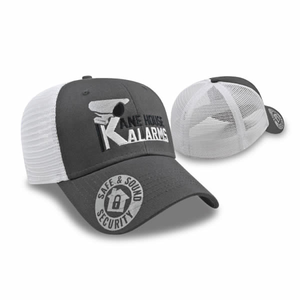 Black/Charcoal/White Modified Flat Bill with Mesh Cap